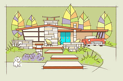 Digital Art -  Mid-century Home, T-bird by Larry Hunter