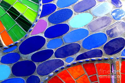 Mosaic Abstract Of The Blue Green Red Orange Stones Art Print by Michael Hoard