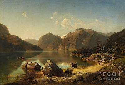 Mountainous Painting -  Morning Over A Mountainous Norwegian Landscape by Celestial Images