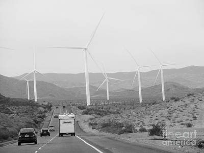 Photograph -  Mountains- Wind Turbine And Road With Cars by Claudia Ellis