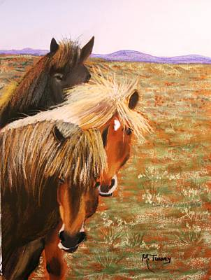 Pastel -  Mustangs by Michele Turney