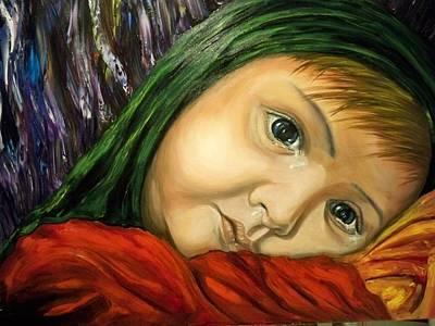 Neda-child...cries For  Iran Original by Ricardo Santos-alfonso