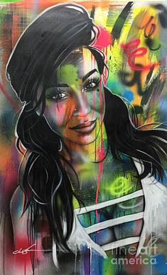 ' Neon Girl ' Art Print by Christian Chapman Art