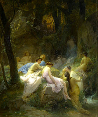 Nymphe Painting -  Nymphes Coutant Les Chants D'orphe by Charles Francois Jalabert