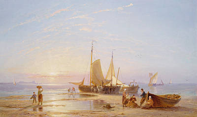 Sunset At The Beach Painting -  Off Flushing by Pieter Cornelis Dommerson