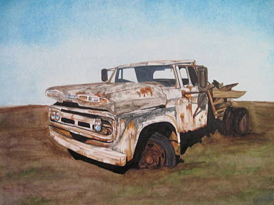 Rusted Cars Drawing -  O'l Perry  by Tabitha Marshall