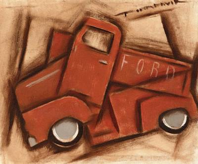 Painting -  Old Cubism Truck Art Print by Tommervik