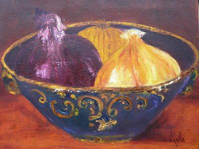 Onion Paintings - Rustic Bowl With Onions Virgilla Art Art Print by Virgilla Lammons