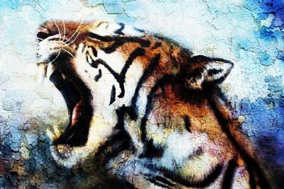 Painting Sumatran Tiger Roaring. Art Print by Jozef Klopacka