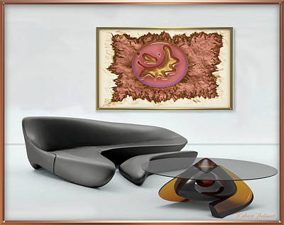 Digital Art - ' Paper_glass_ Bronze Collage With Worldwind Table - In Setting ' by RSVPalmer