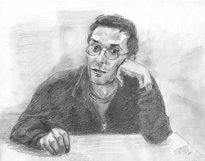 Drawing - The Guy With Glasses At The Table by Masha Batkova