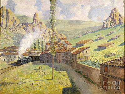 1913 Painting -  Passing Train  by Celestial Images