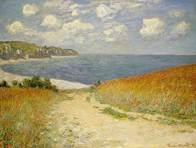 Sea View Painting -  Path In The Wheat At Pourville by Claude Monet