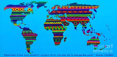 Back To School Painting -  Patterned World Map And Nelson Mandela Quote by Ashley Baldwin