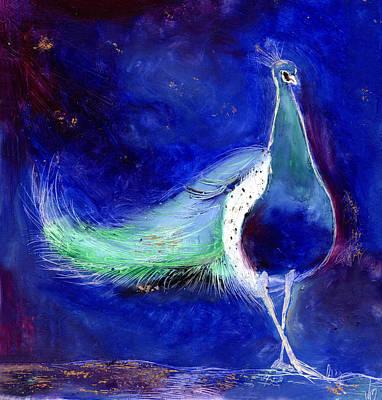 Peacock Bird Painting -  Peacock Blue by Nancy Moniz