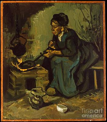Painting -  Peasant Woman Cooking By A Fireplace by Celestial Images