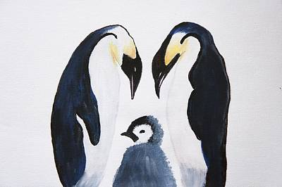 Caring Mother Painting -  Penguins With Chick  by Art Spectrum