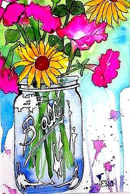 Painting -  Petunias Sunflowers And Jar by Esther Woods