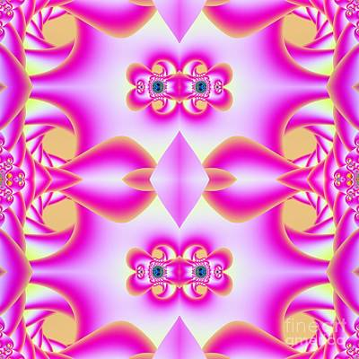 Digital Art -  Pink Jeweled Heart Buckles Fractal by Rose Santuci-Sofranko