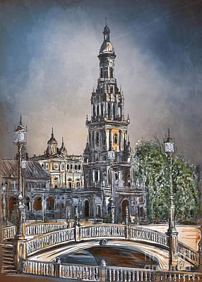 Painting -  Plaza De Espana In Seville by Andrzej Szczerski