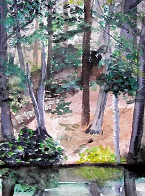 Art Print featuring the painting  Plein Aire Durand Park by Judy Via-Wolff