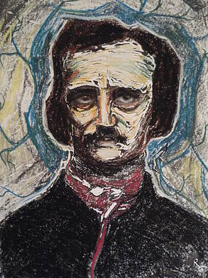 Poe Dreaming Dreams  Monotype Series I Print by Raven Creature