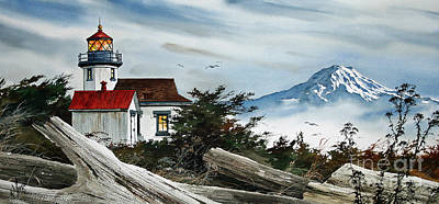 Point Robinson Lighthouse And Mt. Rainier Art Print