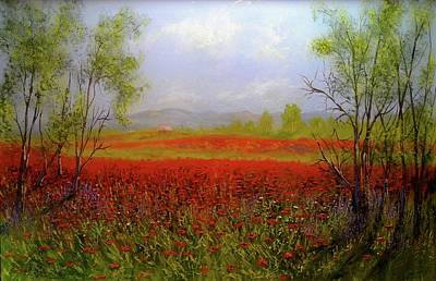 Painting -  Poppie Morning 2 by Michael Mrozik