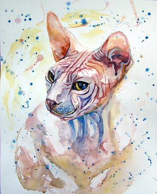 Sphynx Cat Painting -  Portrait Bald Sphynx Cat  by Elena Vacha