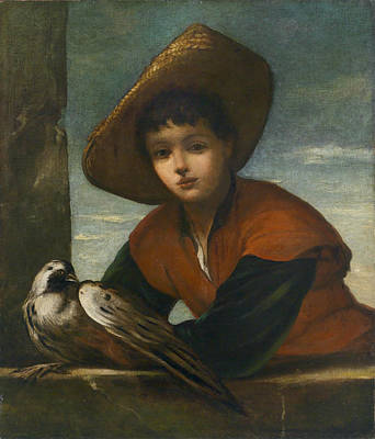 Portrait Of A Boy With A Falcon Front  Art Print