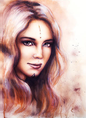 Portrait Of A Young Enchanting Woman Face With Long Wavy Hint Of Woodland Fairy Wisdom Sparkling  Art Print by Jozef Klopacka