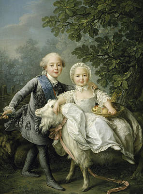 Royal Family Portraits Painting -  Portrait Of Charles Philippe Of France And His Sister Marie Adelaide by Francois Hubert Drouais
