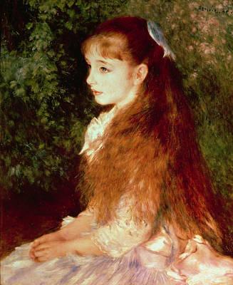 Of Hair Painting -  Portrait Of Mademoiselle Irene Cahen D'anvers by Pierre Auguste Renoir