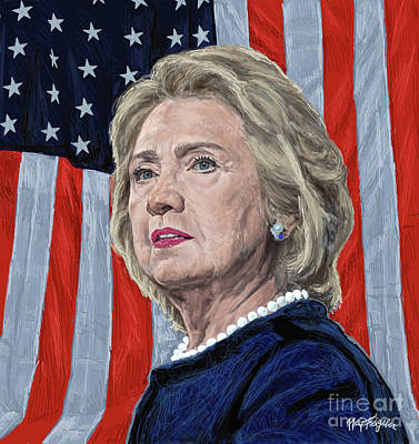 Bill Clinton Wall Art - Digital Art -  Presidential Candidate Hillary Rodham Clinton by Neil Feigeles