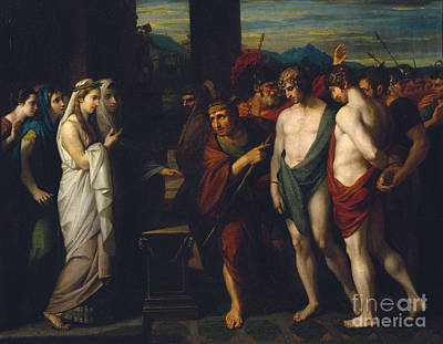 Bringing Painting -  Pylades And Orestes Brought As Victims Before Iphigenia by Celestial Images