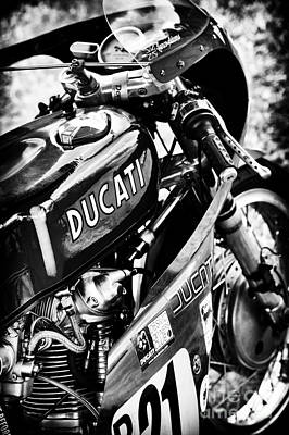 Racing Ducati Monochrome Art Print by Tim Gainey
