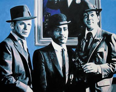 Frank Sinatra Painting - - Rat Pack Blue Detail - by Luis Ludzska
