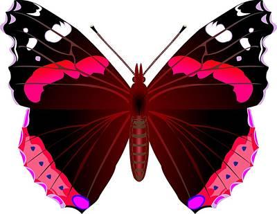 Admiral Digital Art -  Red Admiral Butterfly by Alexey Evsyunin