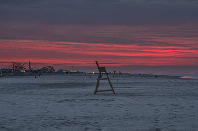 Lif Photograph -  Red Sky In The Morning - Wildwood New Jersey by Bill Cannon
