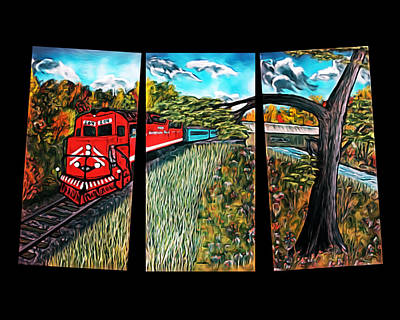 Autumn Leaf On Water Digital Art -  Red Train Passage - Elegance With Oil by Claude Beaulac