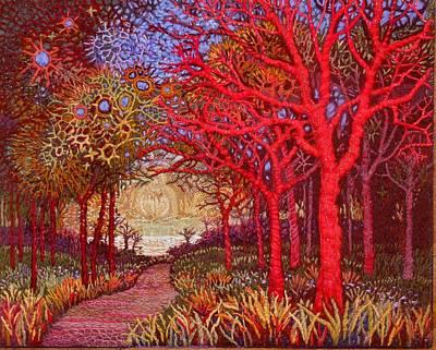 Mystical Landscape Painting -  Red Trees by Kerstin Zettmar