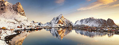White Mountains Photograph -  Reine Lofoten Islands by Janet Burdon