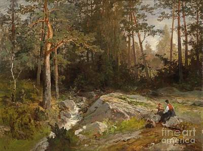 Clearing Painting -  Resting In A Woodland Clearing by Celestial Images