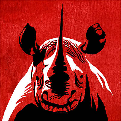 Rhino Animal Decorative Red Poster 5 - By Diana Van Art Print by Diana Van