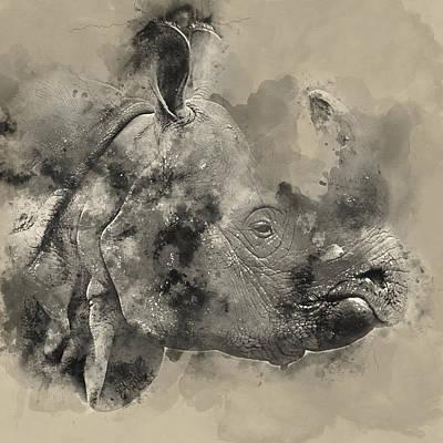 Rhino Watercolor Portrait 1 - By Diana Van Print by Diana Van