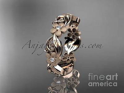 Solitaire Ring Jewelry -  Rose Gold Diamond Flower Wedding Ring Engagement Ring Wedding Band Adlr191 by AnjaysDesigns com