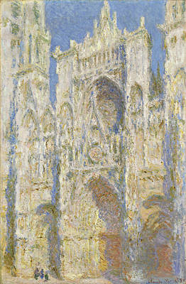 Rouen Cathedral West Facade Sunlight Print by Claude Monet