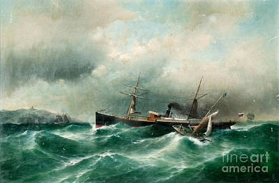 S S Capella On A Stormy Sea. Art Print