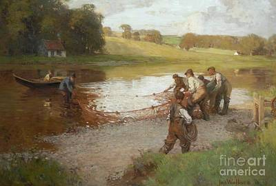 Tweed Painting -  Salmon Fishing On The Tweed  by MotionAge Designs