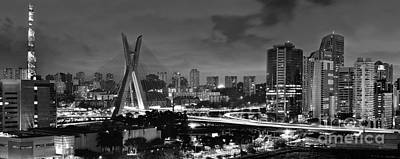 Photograph -  Sao Paulo Iconic Skyline - Cable-stayed Bridge - Ponte Estaiada by Carlos Alkmin